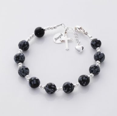 Personalised Rosary Bracelet, Obsidian & Onyx | Heavens Blessings